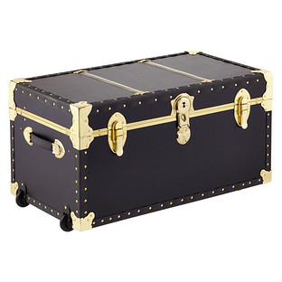 Black Rolling Trunk with Tray