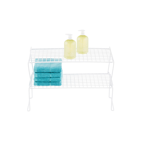White Long Grid Stacking Shelf