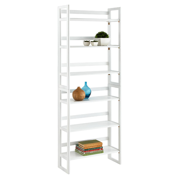 White Solid Wood Stackable Folding Bookshelf