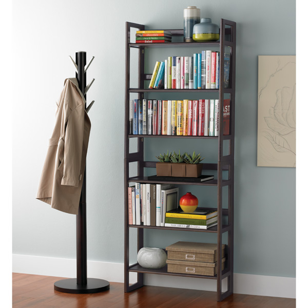 Java Solid Wood Stackable Folding Bookshelf