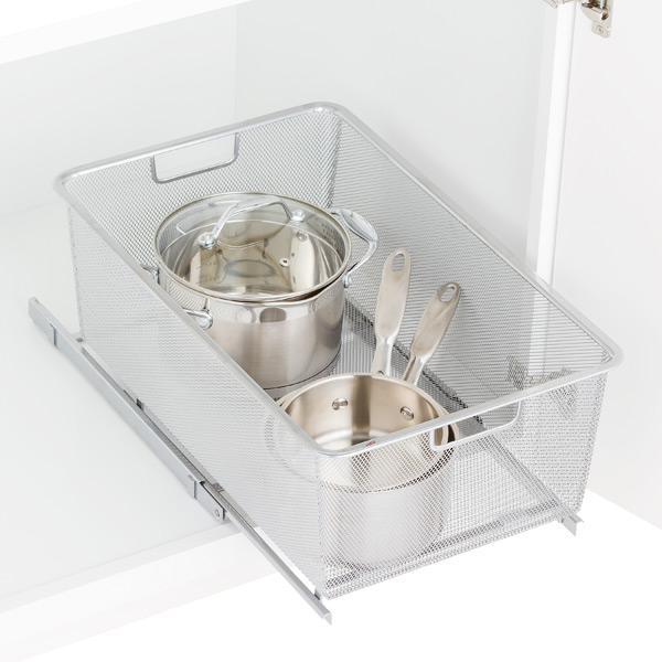 Platinum Elfa Mesh Pull-Out Cabinet Drawers