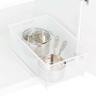 White Elfa Mesh Pull-Out Cabinet Drawers