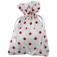 Red Flocked Dots Sheer Drawstring Sack