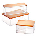 Clear Boxes with Brushed Rose Gold Lids