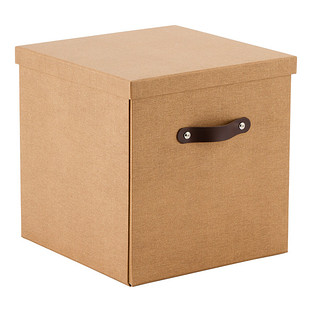Bigso Marten Chestnut Storage Cube with Leather Handles