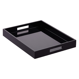 Black Lacquered Serving Tray with Handles