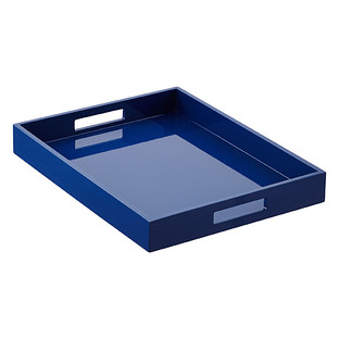 Navy Lacquered Serving Tray with Handles