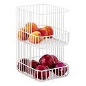 White Scala Steel Wire Stackable Baskets