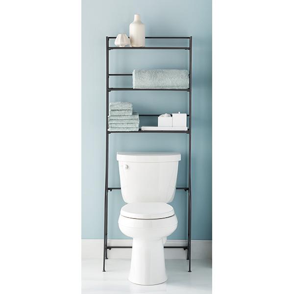 Iron Over The Toilet Storage. Iron Folding Bath Etagere   The Container Store
