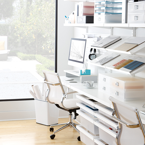 white elfa d cor office the container store ForElfa Desk System