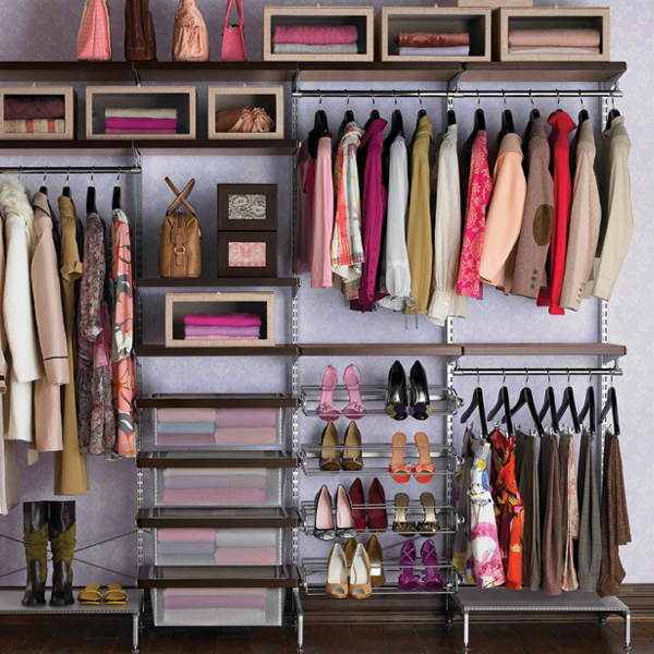 Walnut & Platinum elfa Freestanding Closet
