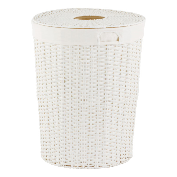 white montauk round hamper the container store. Black Bedroom Furniture Sets. Home Design Ideas