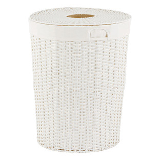 Plastic Laundry Baskets White Montauk Round Hamper