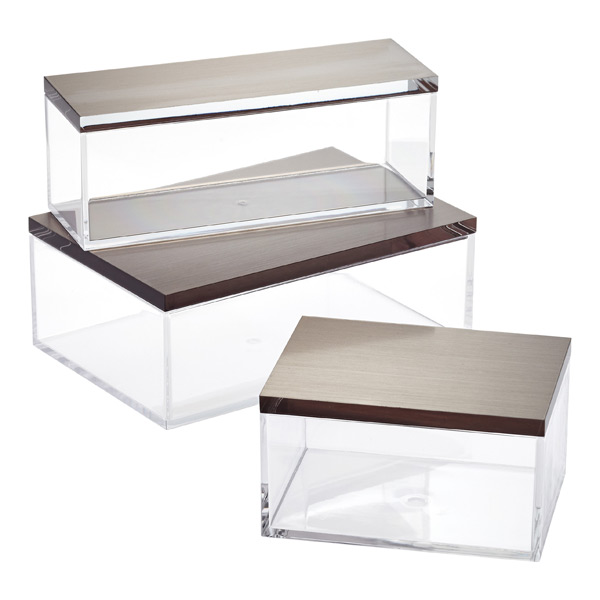 Clear Boxes with Brushed Nickel Lids