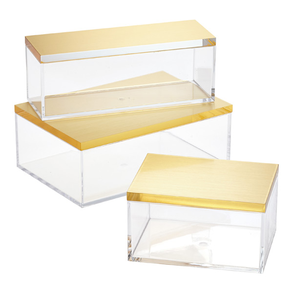 Clear Boxes with Brushed Gold Lids