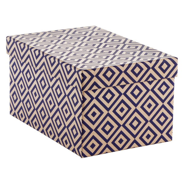 Navy Diamonds Recycled Kraft Box