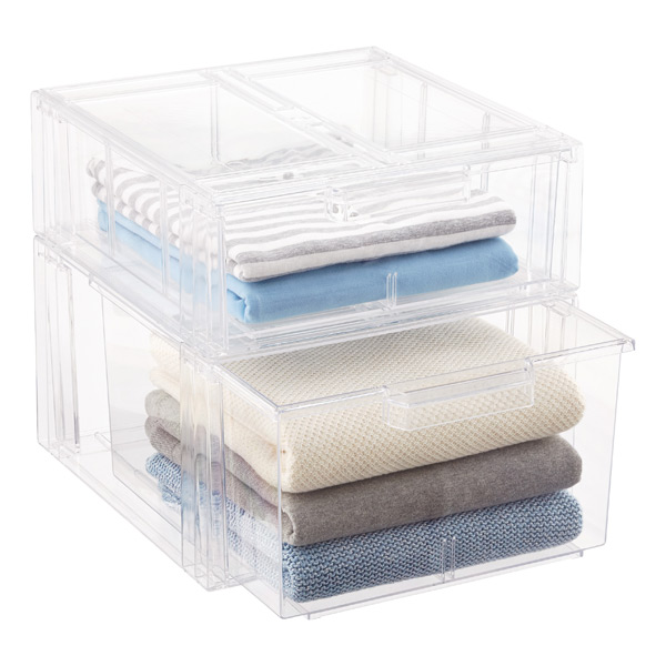 Clear Stackable Sweater Drawer The Container Store