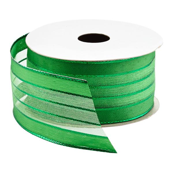 Green Sheer Stripe Foil Wired Ribbon