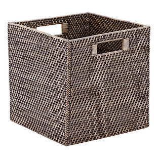 Blackwash Rattan Storage Cube with Handles