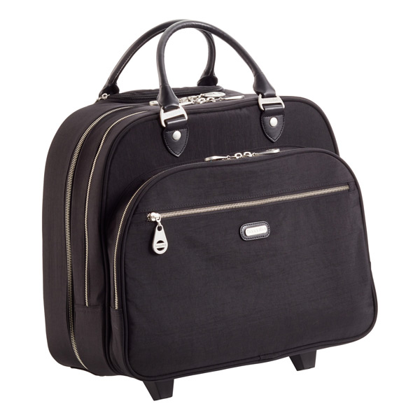 baggallini Black Rolling Tote with Black Piping