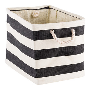 Charcoal & Ivory Rugby Stripe Storage Bin with Rope Handles