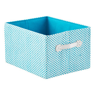 Aqua Gingham Storage Bin with Handles
