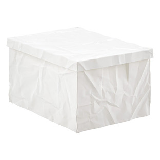 White Krinkle Storage Box with Lid