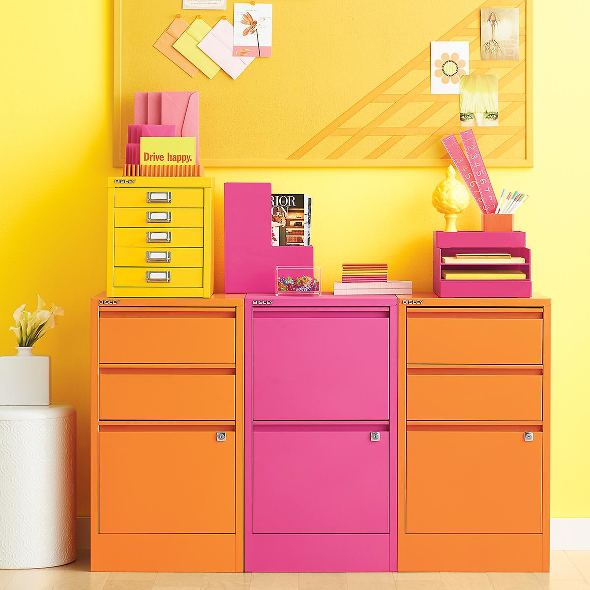 Bisley Yellow 5 Drawer Cabinet The Container Store