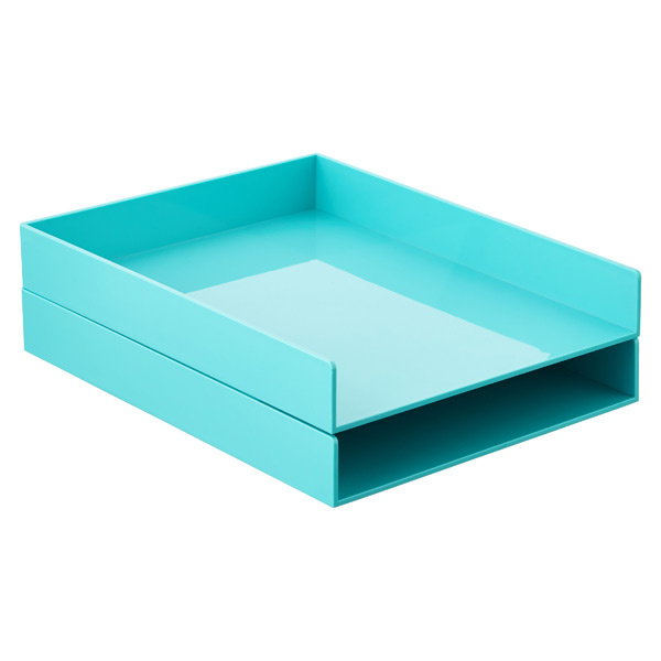 Aqua Poppin Stacking Letter Tray