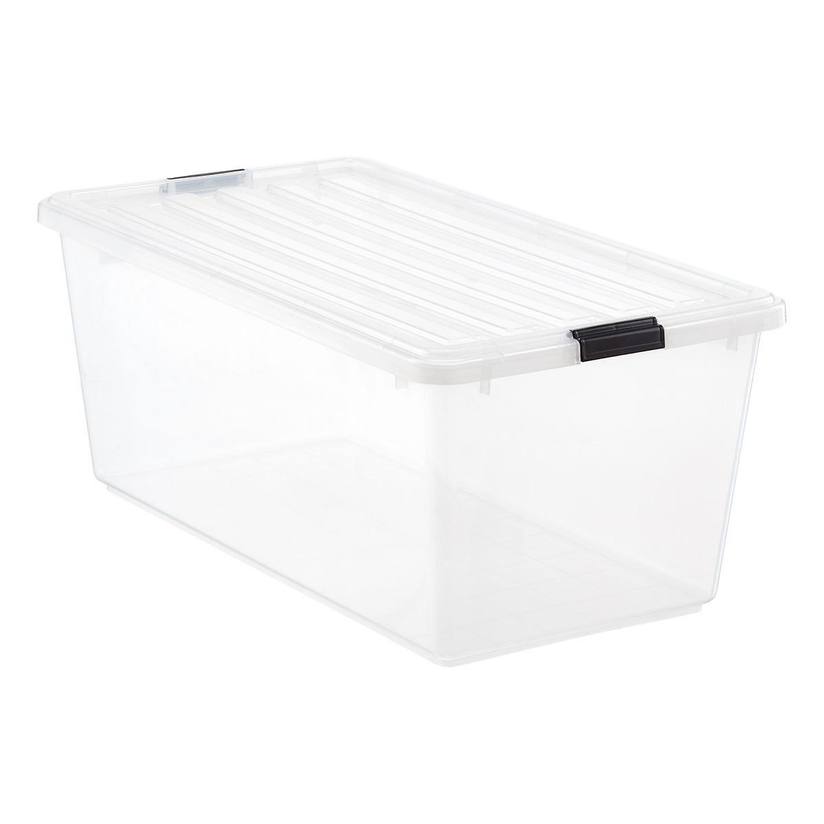 iris gal clear tote with locking lid the container store. Black Bedroom Furniture Sets. Home Design Ideas