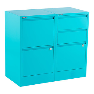 Bisley Aqua 2 3 Drawer Locking Filing Cabinets