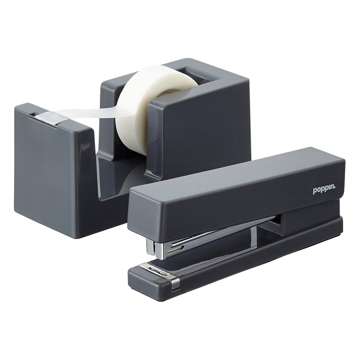 Dark Grey Poppin Tape Dispenser & Stapler
