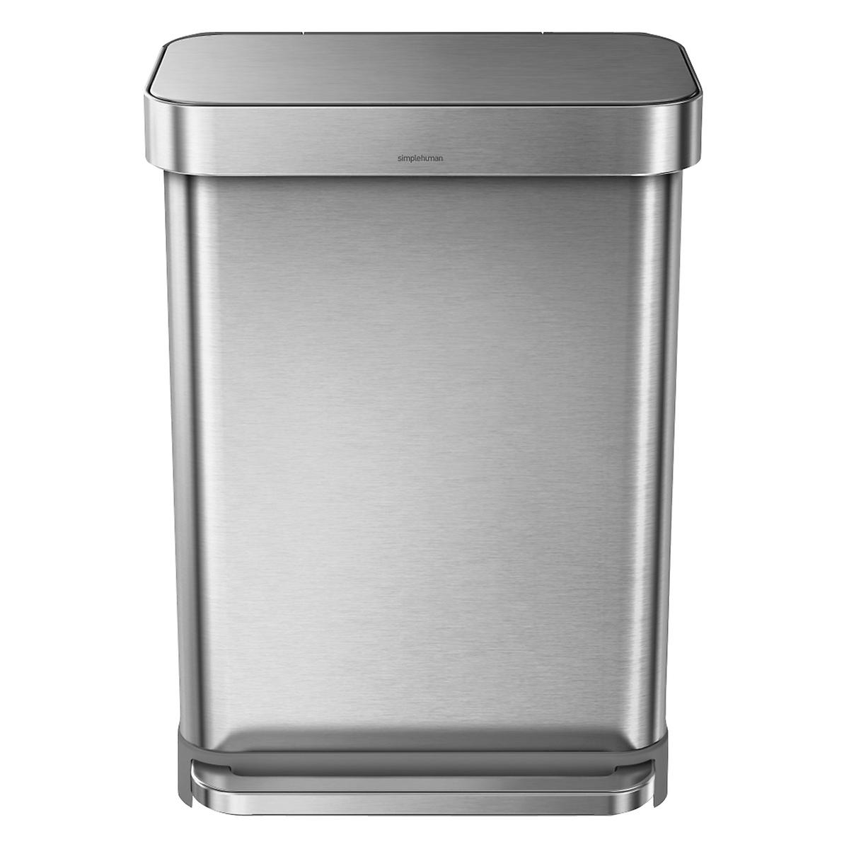 Stainless Steel Kitchen Garbage Can: Simplehuman Stainless Steel 14.4 Gal. Rectangular Trash