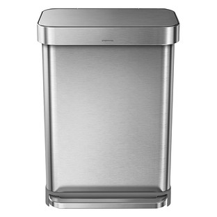 simplehuman Stainless Steel 14.4 gal. Rectangular Trash Can with Liner Pocket