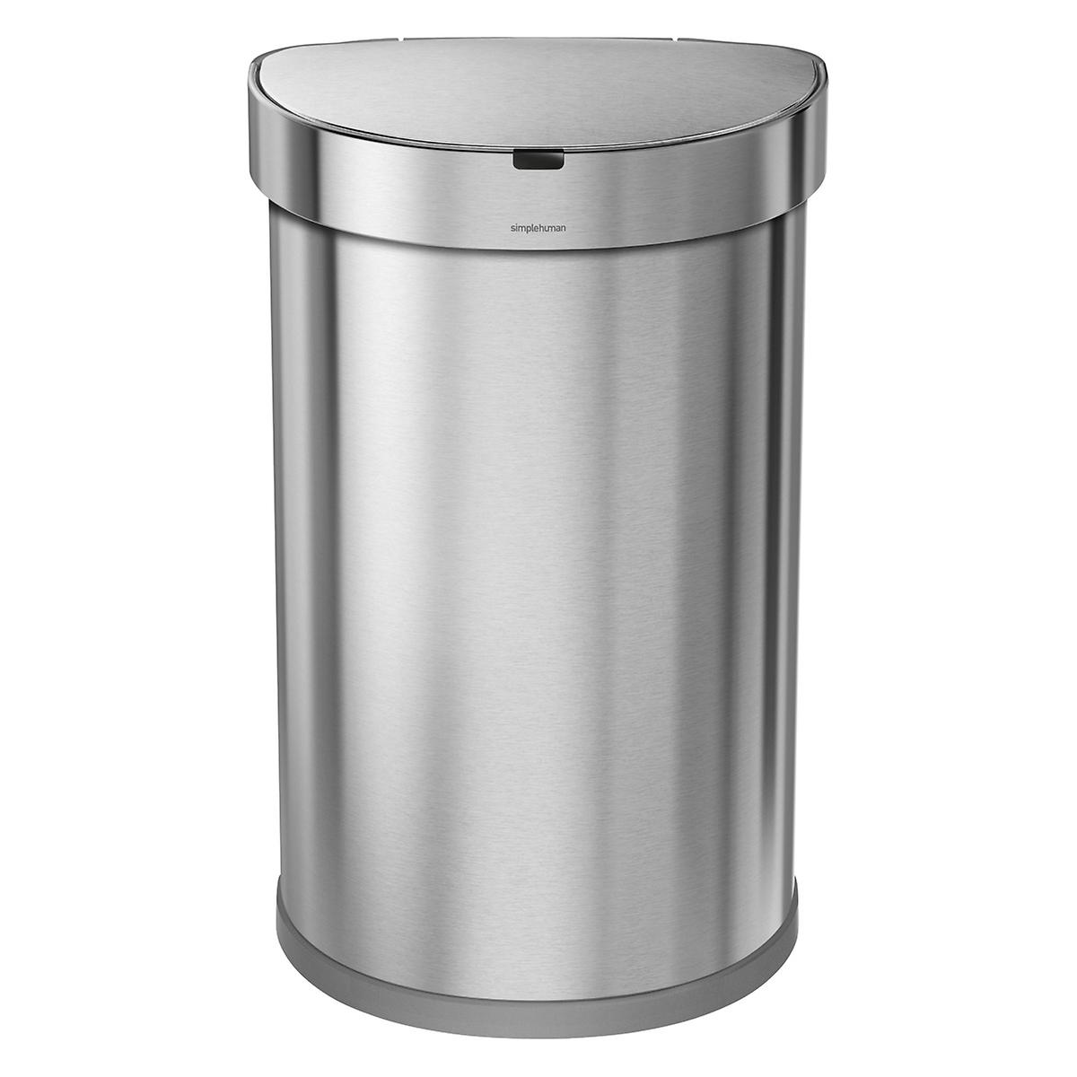 simplehuman Stainless Steel 12 gal. Semi-Round Sensor Trash Can