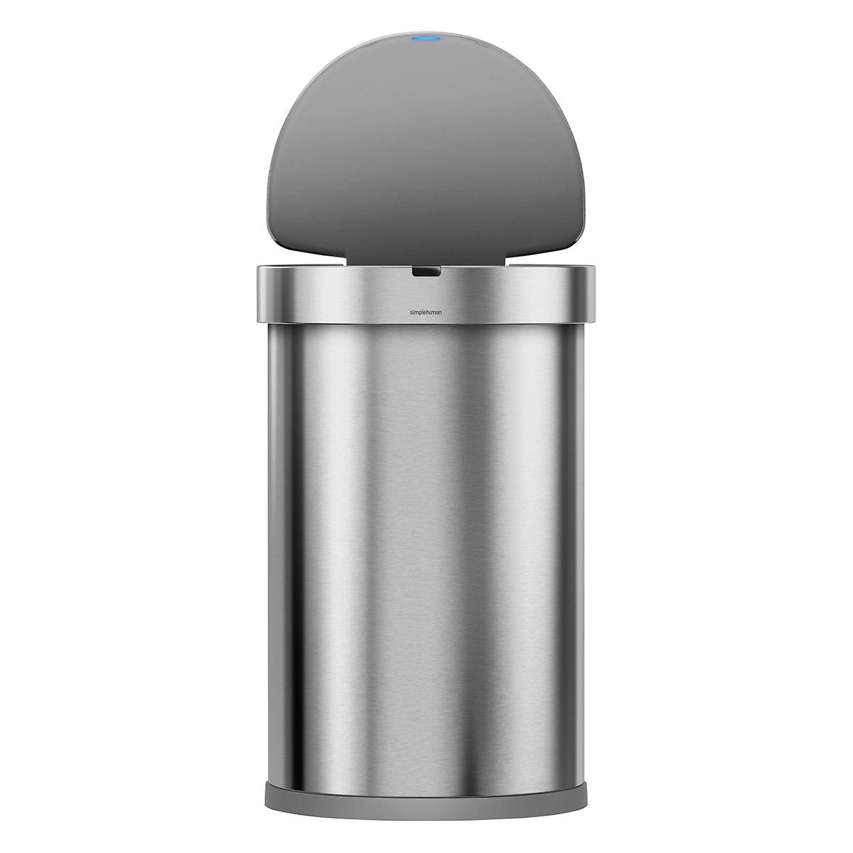 simplehuman stainless steel 12 gal semi round sensor trash can the container store. Black Bedroom Furniture Sets. Home Design Ideas