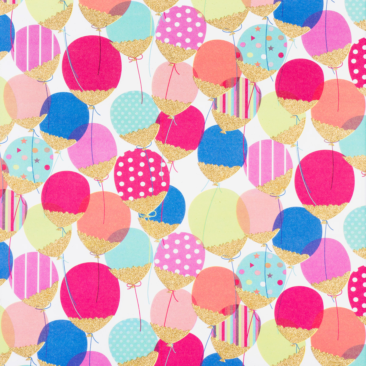 Glitter Balloons Wrapping Paper