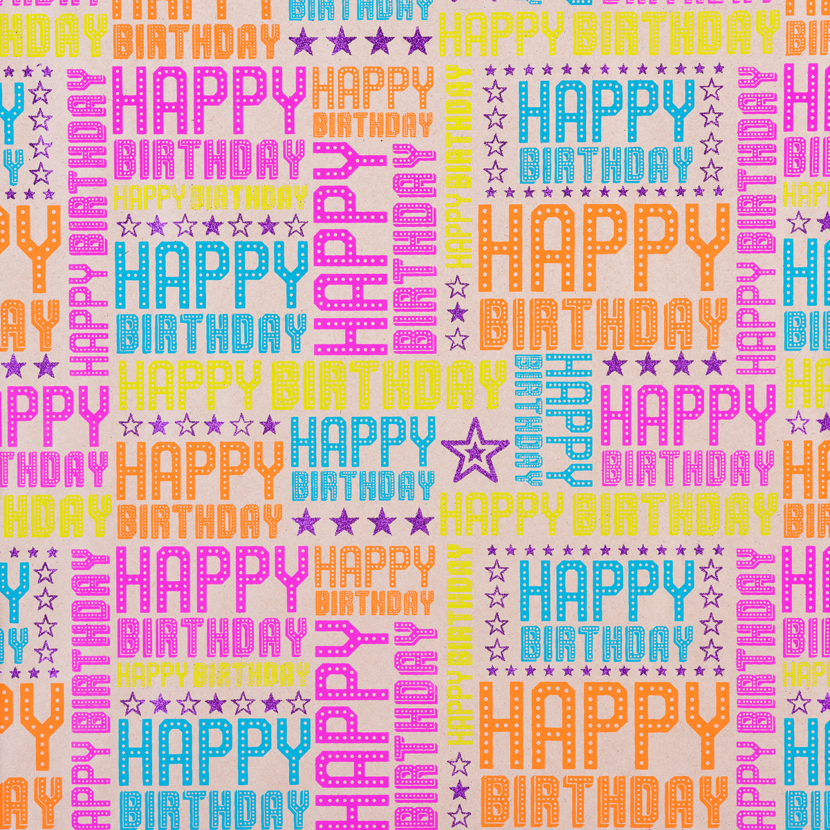 Vivid Wrap Happy Birthday Brights Kraft Recycled Wrapping Paper