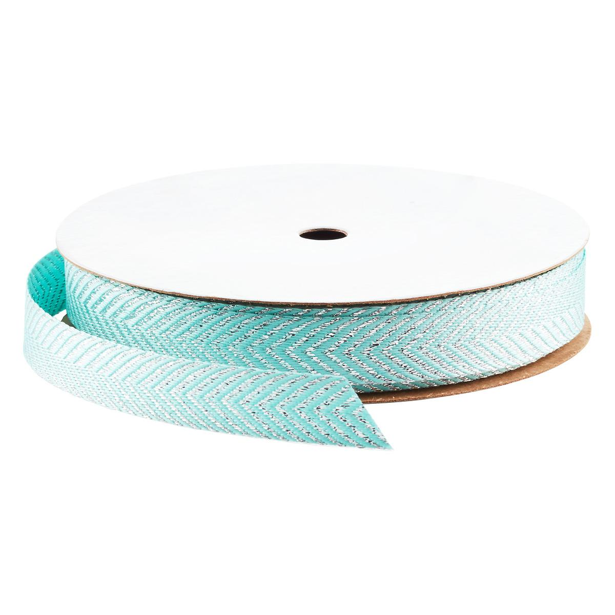 aqua silver metallic chevron ribbon the container store