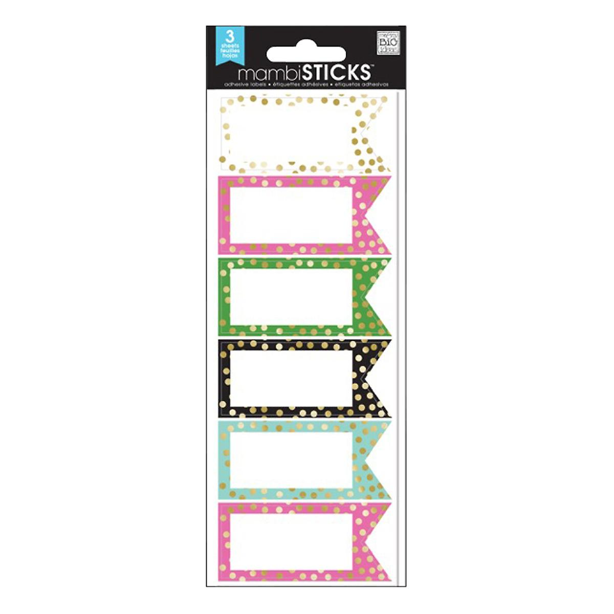 Multicolor Gold Dot Border Labels