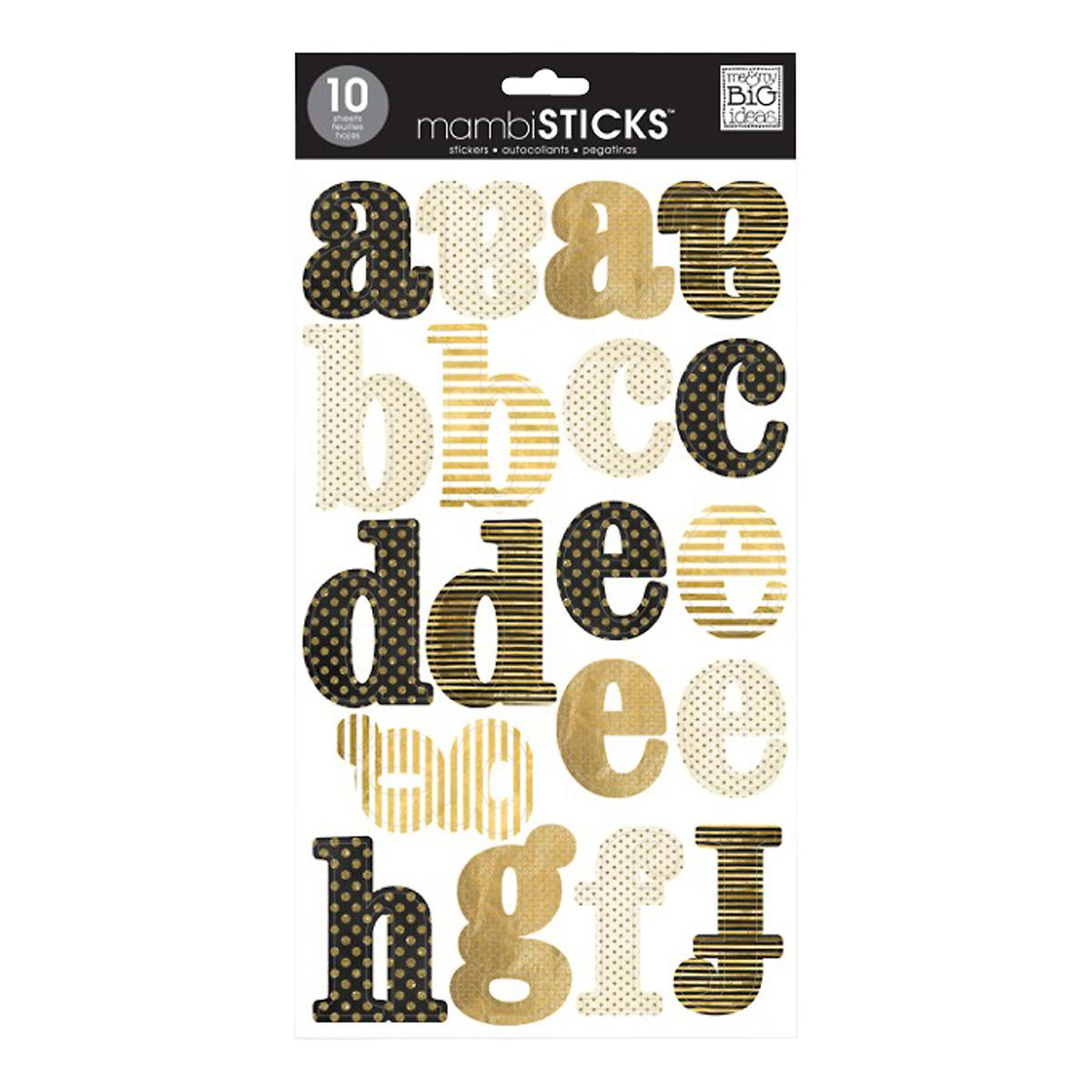 Large Gold Lowercase Alphabet Stickers