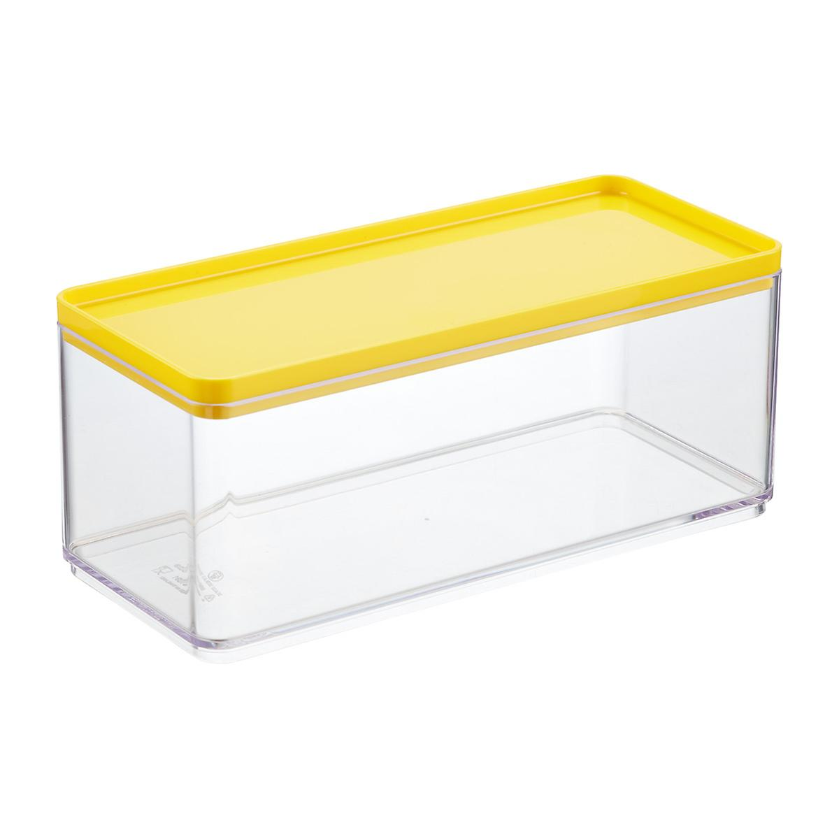 Stackable rectangle clear containers with yellow lids the container store for Clear bathroom containers