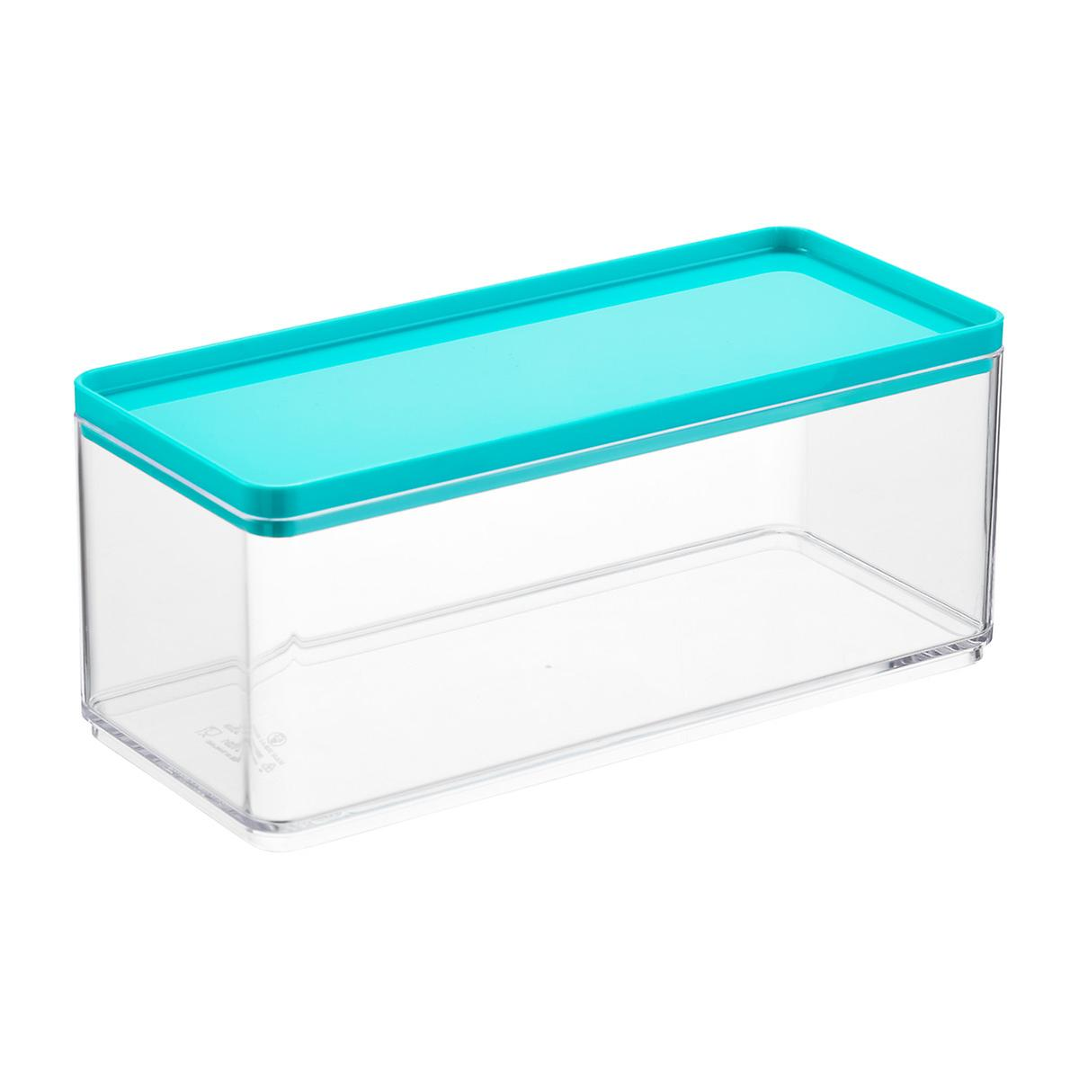 Stackable rectangle clear containers with teal lids the for Clear bathroom containers