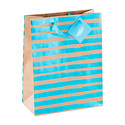 Large Blue Metallic Stripe Kraft Tote