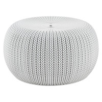 Cloudy Grey Knit Pouf