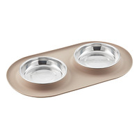 Grey Cat Double Silicone Feeder
