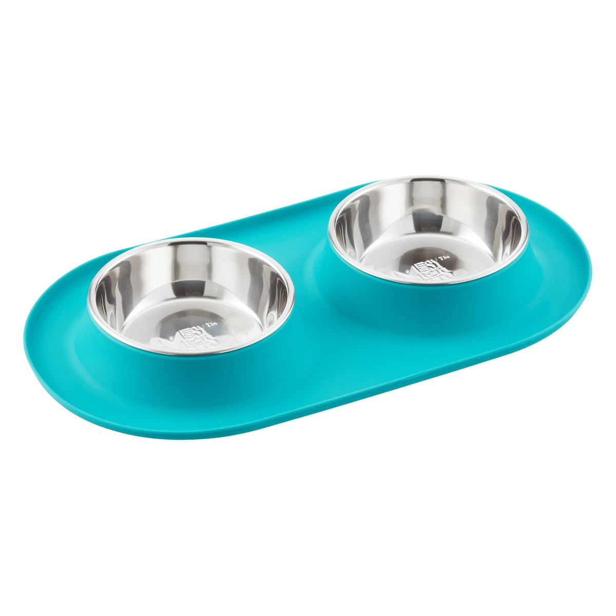 Messy Mutts Medium Teal Double Silicone Dog Feeder