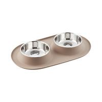 Messy Mutts Grey Double Silicone Dog Feeders