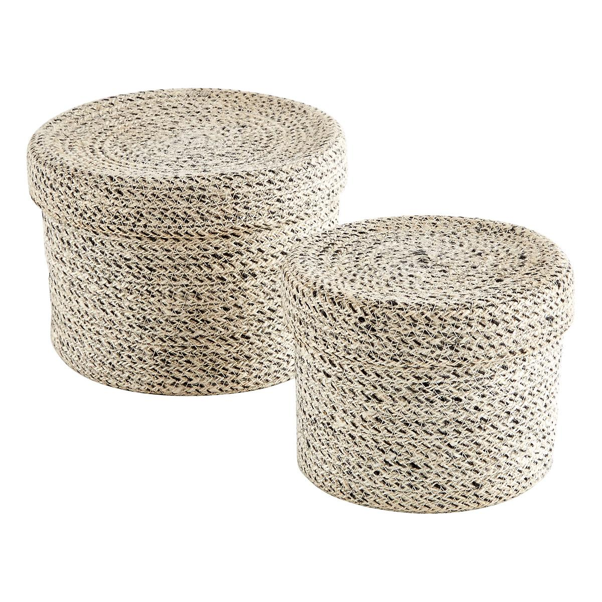 white round jute storage boxes with lids the container store. Black Bedroom Furniture Sets. Home Design Ideas
