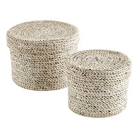 White Round Jute Box with Lid